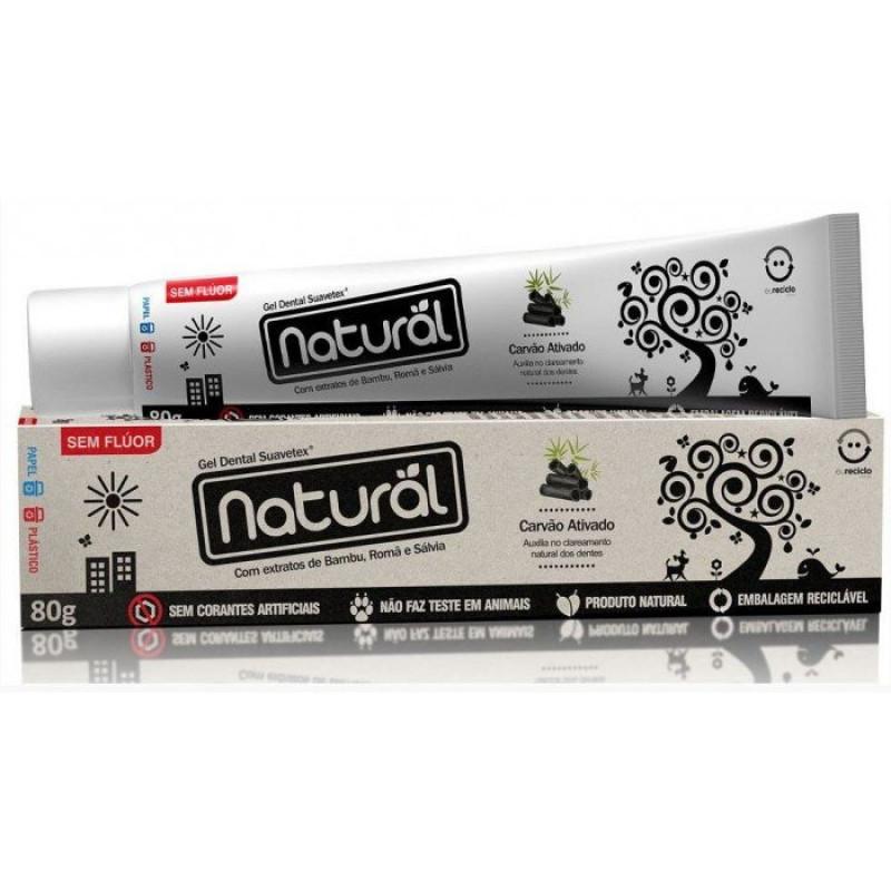 Gel Dental Natural Suavetex com Carvão Ativado, extratos de Bambu, Romã e Sálvia